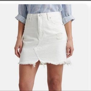 LUCKY BRAND white destressed denim mini skirt